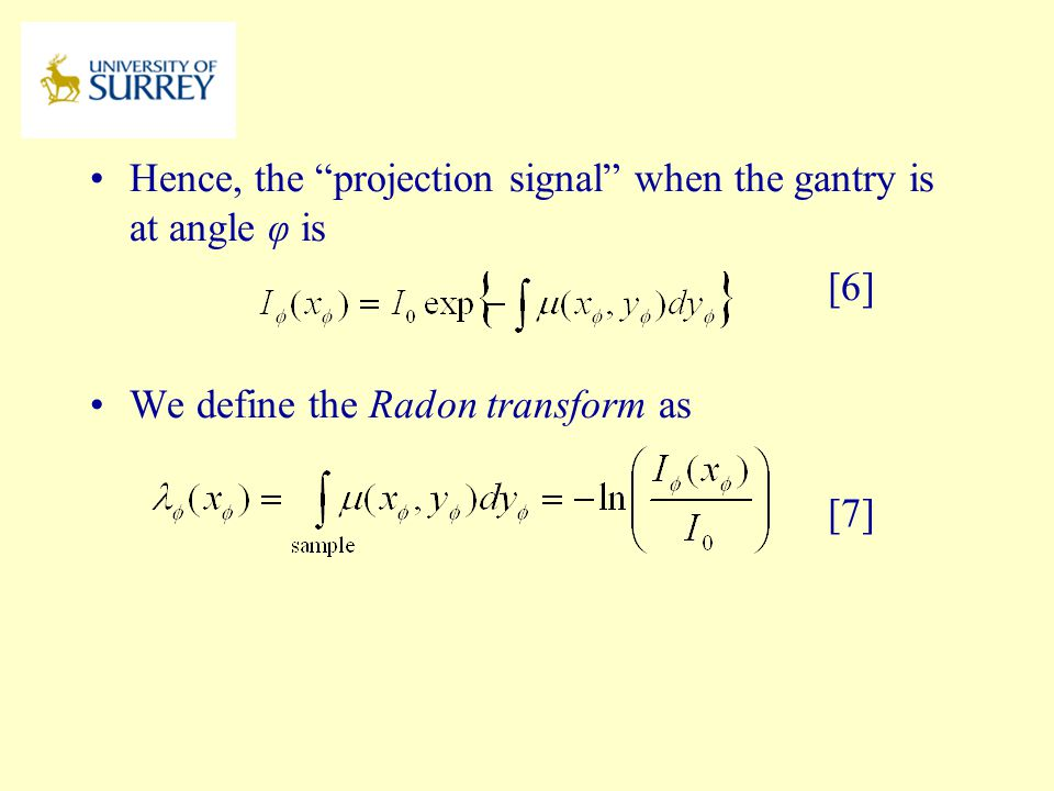 Hence, the projection signal when the gantry is at angle φ is [6]